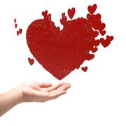 Many red hearts on hand. Stock Illustration