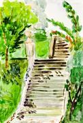 child's paiting - old stone stairway - stock illustration