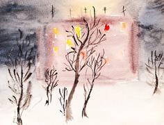 Illuminated town house in winter night Stock Illustration