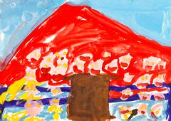 child's painting - red mountain and brown house - stock illustration