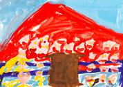 Stock Illustration of child's painting - red mountain and brown house