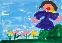 child's painting - girl near flower bed - stock illustration