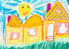 Child's drawing - country houses Stock Illustration