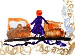 Lasten piirustus - nainen rautatieasemalta Piirros
