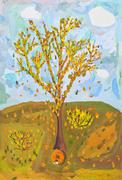 child's paiting - falling leaves from autumn tree - stock illustration