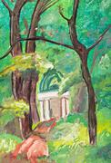 child's paiting - old ruins in green park - stock illustration