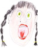 child's drawing - portrait of a screaming woman - stock illustration