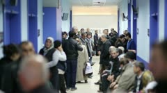 IZMIR, TURKEY - JANUARY 2013: People waiting in hospital corridor - stock footage