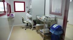 IZMIR, TURKEY - JANUARY 2013: Handling of hazardous materials in hospital - stock footage