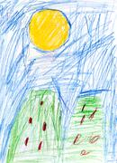 Child's drawing - green houses Stock Illustration