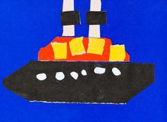 Stock Illustration of child's applique - ship in blue sea