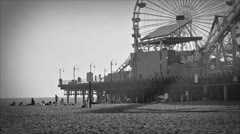 Santa Monica Pier Black and White Old Vintage Archival Style Film Stock Footage - stock footage