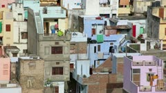 View of densely populated residential district, ghettos - stock footage
