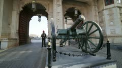 UDAIPUR, RAJASTHAN, INDIA - APRIL, 2013: Honour guard at the City Palace Stock Footage