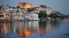 Magnificent view of Udaipur, Rajasthan at night Stock Footage