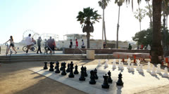 Stock Video Footage of Santa Monica Pier Chessboard