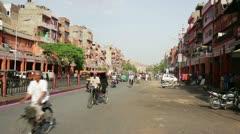 JAIPUR, RAJASTHAN, INDIA - APRIL, 2013: Everyday street scene with traffic Stock Footage