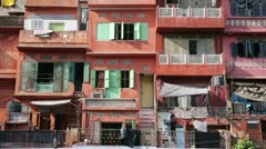 Everyday scene with Clothes drying on balconies of poor ghettos Stock Footage