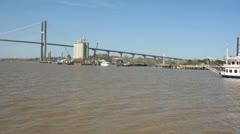 Savannah ga tourist riverboat Stock Footage