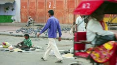 JAIPUR, RAJASTHAN, INDIA - APRIL, 2013: Everyday scene with street vendors and Stock Footage