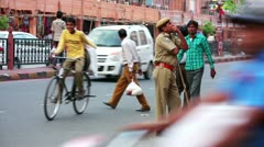 JAIPUR, RAJASTHAN, INDIA - APRIL, 2013: Everyday scene with street traffic and Stock Footage
