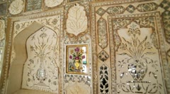 Ornate interior of  Amber Fort in Jaipur India Stock Footage