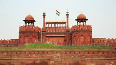 Majestic facade of Red Fort in Old Delhi - stock footage
