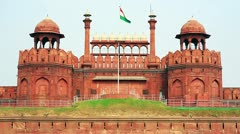 Majestic facade of Red Fort in Old Delhi Stock Footage