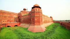 Majestic walls facade of Red Fort in Old Delhi Stock Footage