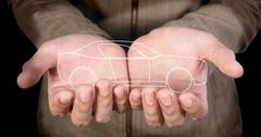 car in hands - stock photo