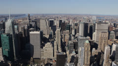 Spectacular Panorama Aerial View New York City Skyline Midtown Manhattan NYC USA Stock Footage