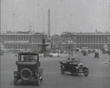 PARIS, FRANCE - 1920's: Place de la Concorde with Luxor Obelisk Stock Footage