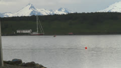 Boats in the patagonian fjords Stock Footage