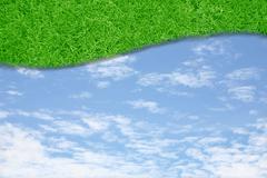 curve green grass sky - stock photo