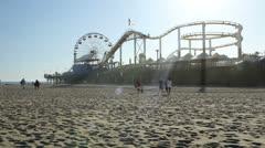 Santa Monica Pier Ferris Wheel Beach Sand Summer Beautiful California LA - stock footage