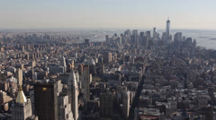 Aerial View of Freedom Tower, Fifth Avenue, Downtown Manhattan Stock Footage