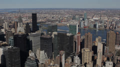 Aerial View of New York City Skyline by day, Midtown Manhattan, USA Stock Footage