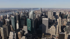 Establishing Shot Midtown Manhattan Aerial View New York City Skyline Sunny Day Stock Footage