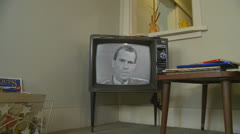 Kennedy vs. Nixon - 1st 1960 Debate (2) 1960's archival news on old television Stock Footage