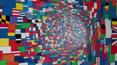 World Flags tunnel fly through, bloom Stock Footage