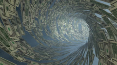 US Dollar currency tunnel fly through, bloom Stock Footage