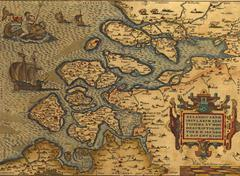 antique map of the netherlands - stock illustration
