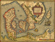 Antique map of denmark Stock Illustration