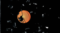Basketball breaking glass with Alpha Stock Footage