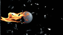 Golf Ball on fire breaking glass - stock footage