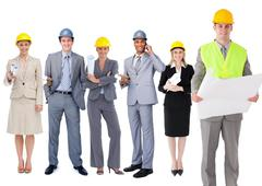 Team of architects in a row Stock Photos