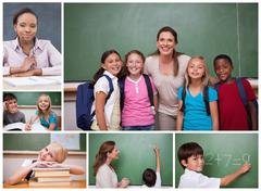 Collage of primary school pupils and teachers - stock photo