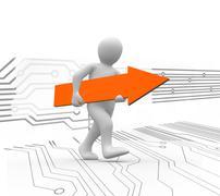 Human representation walking while holding orange arrow sign Stock Illustration