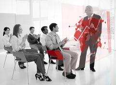 Business people clapping stakeholder standing in front of red map futuristic Stock Photos
