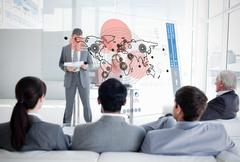 Business people listening and looking at map diagram interface - stock photo